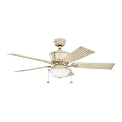 "Kichler - Cates 52"" Ceiling Fan Aged White - Kichler Cates Model KL-300162AW in Aged White with All Weather ABS Aged White with Grooves Finished Blades."