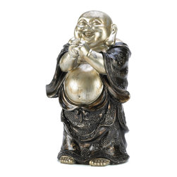 """Koehler Home Decor - Koehler Home Decor Standing Happy Buddha Figurine - The standing, happy Buddha is thought to bring riches and happiness to those around it. The 10"""" tall figurine is adorable and compact enough to display wherever you feel you need it most. Weight 2.6 lbs. 6""""x 4 5/8""""x 10"""" high. Polyresin.Weight 2.6 lbs. Dimension: 6""""x 4.62""""x 10"""". Material: Polyresin."""