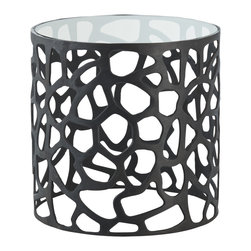 Kathy Kuo Home - Ennis Laser Cut Modern Black Metal Side End Table - Biomimicry seems to be the design story that just won't go away, and we understand why.  This precision cut metal side table evokes cellular relationships, neural pathways, and exoskeletons.  It also looks amazing in a diverse selection of contemporary spaces.