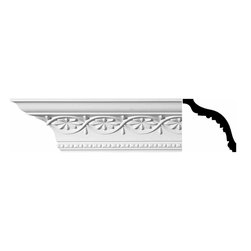The Renovators Supply - Cornice White Urethane Blanchefleur - Cornice - Ornate | 10986 - Cornices: Made of virtually indestructible high-density urethane our cornice is cast from steel molds guaranteeing the highest quality on the market. High-precision steel molds provide a higher quality pattern consistency, design clarity and overall strength and durability. Lightweight they are easily installed with no special skills. Unlike plaster or wood urethane is resistant to cracking, warping or peeling.  Factory-primed our cornice is ready for finishing.  Measures 5 1/4 inch H x 94 inch L.