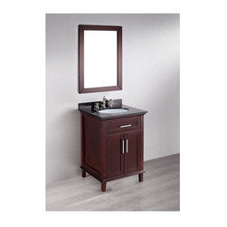 Bosconi - 26 in. Single Vanity in Espresso Finish - Faucet and drain not included. Versatile. Two soft closing doors. Silver finished hardware. Under mount white ceramic single sink. Three 8 in. standard faucet holes. Overflow drain. 0.7 in. thick black granite countertop. CARB PH2 Certified sides and paneling. Made from birch solid wood frame. Matching backsplash: 0.7 in. D x 2.75 in. H. Mirror: 24.5 in. W x 33.5 in. H (14 lbs.). Sink: 18 in. W x 15 in. D x 7.6 in. H. Vanity: 25.5 in. W x 21 in. D x 33 in. H (124 lbs.)Unique styling and flowing lines merge to form a contemporary range of the Bosconi Contemporary Vanity collection. This is influenced by long established American design and crafted to perfection.