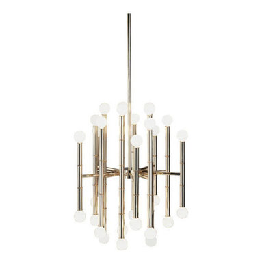 Meurice 30 Light Chandelier by Robert Abbey - Meurice 30 light chandelier features white bulb globes at varying levels around a center post with bamboo details. Finish available in polished nickel, antique natural brass and deep patina bronze. Available in a 30 and 40 light option. Also available in a wall sconce, swing wall sconce, pharmacy floor lamp, club floor lamp, tray floor lamp, table lamp and suspension version. Direct wire. Includes (3) 0.68 x 12 and (1) 0.68 x 6 inch extension rods. Thirty 25 watt, 120 volt, G16.5 candelabra base incandescent lamps not included. General light distribution. UL listed. Overall maximum height adjusts 28 to 57.25 inches. 19.25 inch diameter x 22 inch height.