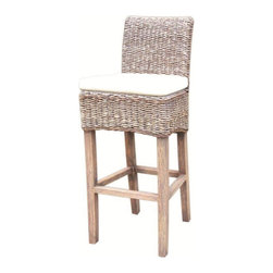 Marco Polo Imports - Goa Barstool with Cushion, Grey - The Goa bar stool combines fitted lines with elegant texture, perfect for bringing the outdoors in. This comfortable chair is made from all natural banana leaf, abaca and mango wood. Available in Natural and Grey.