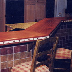 Geist, IN - Countertop - Solid Bloodwood countertop with Holly and Black Walnut edge inlay.