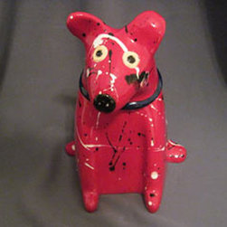 Mercedes Pottery - Dog Treat Jar Red - Ceramic, earthenware clay, Dog Treat, Jar