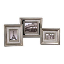 Uttermost - Hasana, Photo Frames, Set of 3 Decorative Home Accessories - Antiqued mirror center panels surrounded by antiqued silver frames.
