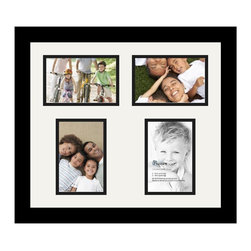 ArtToFrames - ArtToFrames Collage Photo Frame  with 4 - 4x6 Openings and Satin Black Frame - Your one-of-a-kind photos deserve one-of-a-kind frames, but visiting a custom frame shop can be time consuming and expensive. ArtToFrames extensive and growing line of inexpensive multi opening Photo Mats will get you the look you want at a price you can afford. Our Photo Mats come in a variety of sizes and colors and can be custom made to your needs. Frame choices range from traditional to contemporary, with both single and multiple photo opening mat options. With our large selection of custom frame and mat choices, the design possibilities are limitless. When you're done, you'll have a unique custom framed photo that will look like you spent a fortune at a frame shop. Your frame will be delivered directly to your front door or sent as a gift straight to your recipient. _.:*~*:._ Product SKU # - Double-Multimat-135-754/89-FRBW26079
