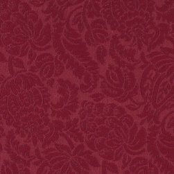 Red Large Scale Floral Woven Matelasse Upholstery Grade Fabric By The Yard - This material is great for indoor upholstery applications. This Matelasse is rated heavy duty, and is upholstery weight. It is woven for enhanced appearance.