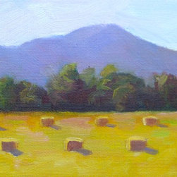 "Linda Rosso Studio - 'Sonoma Hay' Signed Giclée Print - Summer hay-gathering time in Northern California. Signed giclèe print of an original oil painting on archival watercolor paper. Image is approximately 5"" x 7"" and fits in a standard mat for an 8"" x 10"" frame."