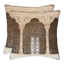 Safavieh - Safavieh Novara Pillow (2) X-2TES-8181-A254LIP - Beautiful filigree and architectural detail in the Novara pillow are inspired by ancient buildings in the Piedmont region of Italy.  Printed in tones of brown on a pure cotton cover, this artful pillow is a conversation piece in the living room, library or family room.