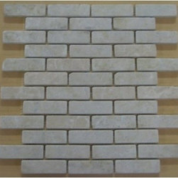 1 in. x 3 in. Bottocino Beige Tumbled Bricks Pattern Mesh-Mounted Marble Mosaic - 1 in. x 3 in. Bottocino Beige Mesh-Mounted Bricks Pattern Marble Mosaic Tile is a great way to enhance your decor with a traditional aesthetic touch. This Tumbled Mosaic Tile is constructed from durable, impervious Marble material, comes in a smooth, unglazed finish and is suitable for installation on floors, walls and countertops in commercial and residential spaces such as bathrooms and kitchens.