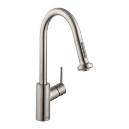 "Hansgrohe - Hansgrohe 04310801 Steel Optik Talis S Talis S Pull-Down Kitchen - Product Features:  All-brass faucet body and handle construction Fully covered under Hansgrohe s limited lifetime warranty Ergonomic pull-down with full and needle sprays enhances the faucets versatility Non-locking spray diverter, hold and release for spray mode Spout swivels 150-degrees providing greater access to more areas of the sink HighArc spout design provides optimal room under the faucet for any size task MagFit magnetic spray head docking M2 ceramic cartridge for a lifetime of smooth operation ADA compliant - complies with the standards set forth by the Americans with Disabilities Act for kitchen faucets Low lead compliant - meeting federal and state regulations for lead content EcoRight - at least 30% less water than standard 2.2 GPM faucets  Product Specifications:  Overall Height: 15-1/8"" (measured from counter top to highest part of faucet) Spout Height: 7-7/8"" (measured from counter top to spout outlet) Spout Reach: 7-3/8"" (measured from center of faucet base to center of spout outlet) Number of Holes Required for Installation: 1 Flow Rate: 1.5 GPM (gallons-per-minute) Maximum Deck Thickness: 2-3/4"" Designed for use with standard U.S. plumbing connections All hardware needed for mounting is included with faucet  Product Technologies and Benefits:  EcoRight: With the addition of a special flow limitation system these faucets by Hansgrohe reduce water consumption by up to 60%. While conventional bathroom mixing faucets will use up to 3.5 gallons-per-minute EcoRight faucets reduce that need to around 1.5 gpm. The EcoRight aerator is integrated into the spout of the faucet enriching the water with air; the result is a"