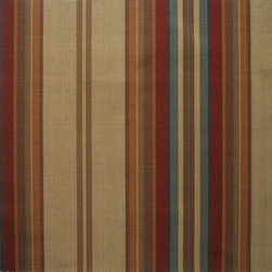 "Close to Custom Linens - 84"" Shower Curtain, Lined, Carlton Stripe Cardinal Red - Carlton is a varied-width stripe with muted shades of dark red, brown, blue and tan."