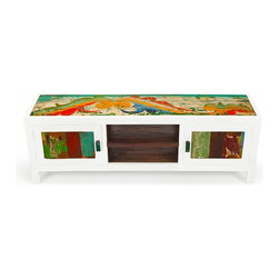 "EcoChic Lifestyles - Channel Surf 59"" Reclaimed Wood TV Stand, Multi-Color - Calling all widescreens! The Channel Surf Console is built to hold your big home theatre television. A playful arrangement of doors and shelves make it ideal for storage and display. The beautifully scuffed paint on the reclaimed wood pops against the crisp white outline."