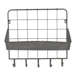 Enchante Accessories Inc - Wall Mounted Distressed Metal Letter Holder & Key Rack, Distressed Grey - Add fashion and function to any room in the house with the Wall Mounted Distressed Metal Letter Holder & Key Rack.  This key rack features a durable metal grid design with rounded edges, distressed detailing that gives the metal a rustic, worn in look, and an angled letter tray that can be used to hold mail.  The back panel features a stylish metal grid that adds a graphic element against the wall while the letter tray has a gently curved lip and an angled ledge to hold incoming or outgoing mail or other small accessories that you need to keep within easy reach near the door.