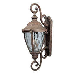 Maxim Lighting - Maxim Lighting 3189WGET Morrow Bay Cast 3-Light Outdoor Wall Lantern - Morrow bay cast is a traditional, European style collection from maxim lighting international in earth tone finish with water glass.