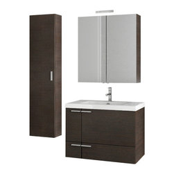 ACF - 31 Inch Wenge Bathroom Vanity Set - With a contemporary style, this all inclusive vanity set is perfect for your master bathroom.