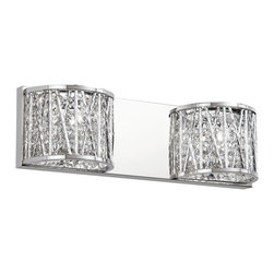 Trans Globe Lighting - Trans Globe Lighting MDN-1152 Woven Chrome Modern / Contemporary Wall Sconce - 2 Light Wall Sconce. Laser cut curved to wall chrome frame. Braided. Bi-cone cut crystals. Chrome wall plate. Halogen bulbs included.