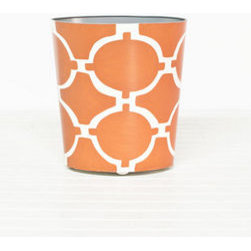"Acadia Orange and Cream Oval Wastebasket - Who said trash cans had to be bland? This orange and white wastebasket helps you throw away the word ""plain"" and tackle more important tasks."