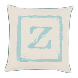 """Surya - Surya BKB-029 Pillow, 20"""" x 20"""", Down Feather Filler - Add a personal stamp to your space with the inclusion of this utterly perfect pillow. Hand made in India of 100% cotton, the boldly printed initial in smooth coloring effortlessly permits for a private touch while simultaneously embodying divine design from room to room within any home decor."""