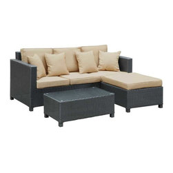 Modway - Dimension 3 Piece Sofa Set in Brown Tan - Bring the city energy to your domain with the sleek, Urban Dimension outdoor set. Whisper confidences and fill the air with familiar laughter inspired by your inner circle. Bring new ideas into being with artful lounging and a view of a cornucopia of sights and sounds.