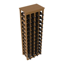 "48 Bottle Kitchen Wine Rack in Redwood with Oak Stain + Satin Finish - Store 4 complete cases of wine in less than 20"" of wall space. Just over 4 feet tall, this narrow wine rack fits perfectly in hallways, closets and other ""catch-all"" spaces in your home or den. The solid wood top serves as a shelf or table top for added convenience and storage of nick-nacks."