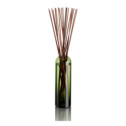 DayNa Decker Botanika Diffuser Refill 16 oz-Taiga - The Essence Diffuser is a streamlined new take on a home fragrance solution that is elegant in its simplicity.  Best-quality botanical oils expertly blended into intense multi-noted mixtures fill bottles hand-blown from recyclable glass into polished round shapes with smoothly curved, narrowing mouths.  When the 20-24 sticks of sustainable wood are allowed to rest in the oil, they draw the fragrance notes up from the bottle and release their pleasurable aromas into the air.