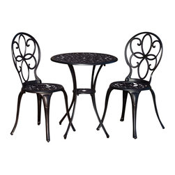 "Fire Sense - Fire Sense 61490 Antique Bronze Cast Aluminum 3pc. Bistro Set - Our new Antique Bronze Bistro Set includes two cast aluminum chairs and a 23.6"" diameter cast aluminum table. This lightweight yet durable bistro set is perfect for breakfasts in the morning or an afternoon tea for two. The attractive antique bronze finish is the perfect accent for any patio. Our bistro set can be used all year round and provides a maintenance free outdoor seating experience."