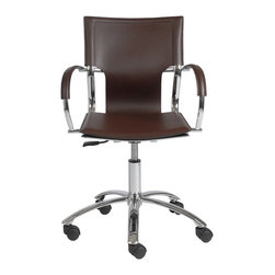 Euro Style - Euro Style Vinnie Office Chair 17210BRN - It's too perfect to call 'basic'. But the clean, simple lines and smooth leather seat, back and armrests say a lot about your office. Straightforward. No nonsense. And undeniably fashion forward.