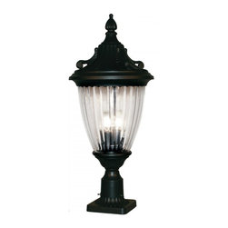 Three Light Black Ribbed Semi Clear Glass Post Light - With feather and filigree motifs throughout the fixture, this large pier mount is the definition of timeless design. The ribbed, semi-clear glass casts a bright spill of light, in perfect symmetry with the black finish. This fixture is made of cast aluminum, which is perfect for all seasons.