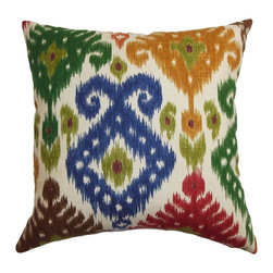"The Pillow Collection - Kaula Ikat Pillow Green Blue 18"" x 18"" - Lend a unique and eccentric look to your living space with this multicolored throw pillow. This accent pillow comes with an elaborate ikat pattern in shades of blue, orange, red, green, brown and white. Made of soft and durable 100% cotton fabric, this square pillow elevates your room to a new level. Toss this 18"" pillow on your bed, sofa, couch and pair it with a matching pattern. Hidden zipper closure for easy cover removal.  Knife edge finish on all four sides.  Reversible pillow with the same fabric on the back side.  Spot cleaning suggested."