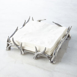 """Arthur Court - Antler Luncheon Napkin Holder - SILVER - Arthur CourtAntler Luncheon Napkin HolderDetailsMade of aluminum in antler design.Hand wash.6""""Sq. x 2""""T.Imported.Designer About Arthur Court Designs Arthur Court began his design business in 1966. Today his creations celebrate the beauty of nature and the durability of unusual materials. His company offers significant support to a number of conservation and wildlife causes."""