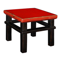 Antique Revival - Red Top Lilliputian Step Stool - This Lilliputian Step Stool is an attractive functional piece for a kid's room or bathroom. Your kids can use it to get hard-to-reach items on shelves or to reach the bathroom sink, and it provides a nice accent piece on its own. The stool can hold up to 50 lbs safely and is lightly distressed with a red lacquer top and black lacquer legs. Item is newly made.