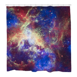 "Sharp Shirter - Tarantula Nebula Shower Curtain - ""This curtain is printed in USA!. Hooks sold separately. Disclaimer: If you order multiple items, they may ship from separate locations."""