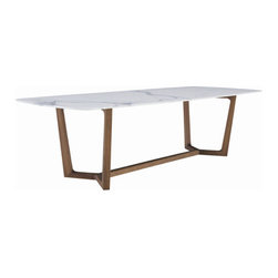 Poliform - Poliform Concorde Dining Table - This wonderful dining table is available in two rectangular sizes or one round size.  The table base is created in either Canaletto Walnut or Spessart Oak.  The table top is available in Petit Granite, White Carrara Marble, Canaletto Walnut, or Spessart Oak.  Price includes delivery to the USA.  Manufactured by Poliform.  Designed in 2009.