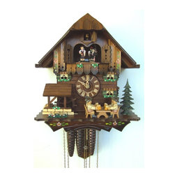 Schneider Cuckoo Clocks - 1-Day Black Forest House and Beer Drinkers Cuckoo Clock - Chalet style. 1-day rack strike movement. Wooden cuckoo, dial with roman numerals and hands. Shut-off lever on left side of case silences strike, call and music. Wooden cuckoo calls and strikes every half and full hour. Two beer drinkers move to cuckoo call. Other two beer drinkers move and water wheel rotates to music on half and full hour. Hand painted dancing couples. Two melodies. Made from wood. Hand painted flowers. Made in Germany. 10.6 in. W x 7.1 in. D x 11.8 in. H (7.7 lbs.). Care Instructions