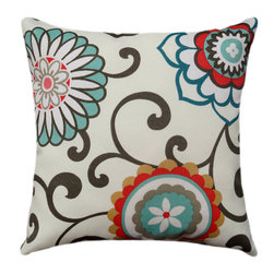Land of Pillows - Waverly Sun N Shade Pom Pom Play Peachtini Outdoor Suzani Floral Throw Pillow, 1 - Fabric Designer - Waverly