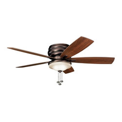 """BUILDER FANS - BUILDER FANS Windham 52""""  Transitional Indoor / Outdoor Flush Mount Ceiling Fan - Dark wood tones are complimented by the Oil Brushed Bronze finish of this Kichler Lighting indoor/outdoor ceiling fan. From the Windham Collection, the look is completed with a citrine glass shade."""