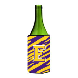 Caroline's Treasures - Monogram - Tiger Stripe - Purple Gold Initial E Wine Bottle Koozie Hugger - Monogram - Tiger Stripe - Purple Gold Letter E Wine Bottle Koozie Hugger CJ1022-ELITERK Fits 750 ml. wine or other beverage bottles. Fits 24 oz. cans or pint bottles. Great collapsible koozie for large cans of beer, Energy Drinks or large Iced Tea beverages. Great to keep track of your beverage and add a bit of flair to a gathering. Wash the hugger in your washing machine. Design will not come off.