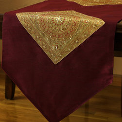 """Elegant Table Runners - Unique """"Oriental Harmony"""" table runner. Golden Wine color. Decorative Indian hand crafted design. Red Gold"""