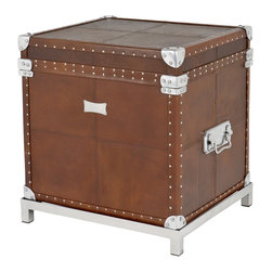 Eichholtz Oroa - Flight Case, Brown Leather - Brown leather and polished aluminum
