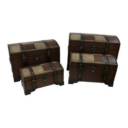 International Caravan Inc - International Caravan Old World Replica Set of 4 Trunks-Mixed Pattern Multicolor - Shop for Trunks and Chests (not dressers) from Hayneedle.com! This International Caravan Old-World Replica Set of 4 Trunks is a beautiful solution to your storage woes. These stunning trunks - one each extra-small medium large and extra-large - feature wood construction and are covered in a mixed pattern of luxurious Old-World brown faux leather accented by patches of faux croc with braided trim. Antique-style hardware and accents complete the look and each trunk has metal handles on the sides. You will find a multitude of uses for these trunks from storing clothing in your bedroom to stashing magazines in the living room. These trunks are sure to add elegance and beautiful Old-World style to any room of your home.Dimensions:Extra-small trunk: 15W x 9D x 8.5H inchesMedium trunk: 18W x 12D x 10.5H inchesLarge trunk: 21W x 15D x 13H inchesExtra-large trunk: 25W x 18D x 16H inchesAbout International CaravanInternational Caravan Inc. is a wholesale and manufacturing company that supplies a wide variety of international products to retail businesses. From living room and bedroom furniture and home decor to outdoor furniture and futons International Caravan has the pieces you need with the look you want to match your lifestyle.