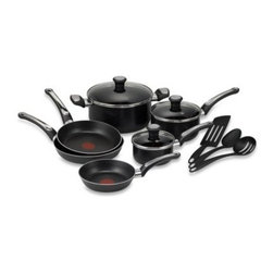 T-fal - T-Fal Total Non-stick 12-Piece Cookware Set in Black - This cookware has both a non-stick exterior and interior. Thermospot technology is ideal for perfect pre-heating.