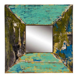 Reclaimed Boat Wood Mirror KAPAL, Square, Blue/Green - Square Mirror made from recycled Boat Wood - in Blue/Green.