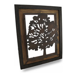 Zeckos - Metal Rustic Finish Tree Silhouette on Wood Frame Wall Hanging - Art and craftsmanship merge in this amazing framed tree wall sculpture Hand-crafted from metal, the silhouette of a tree has been mounted on a wood frame then hand-painted giving it a slightly rusted aged effect. It'll look amazing on any wall in your home, office or shop and measures 21 inches (53 cm) high, 17.5 inches (44 cm) wide and 2 inches (5 cm) deep and easily hangs using the two attached hangers on the back. It easily blends in with most decor; from outdoorsy to industrial, and is sure to be admired