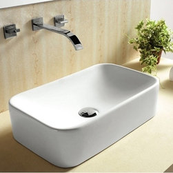 Caracalla - Rectangular White Ceramic Vessel Bathroom Sink - Contemporary style, rectangular white ceramic vessel bathroom sink with no hole. Sleek above counter washbasin comes without overflow. Made in Italy by Caracalla. Made out of white ceramic. Contemporary design. Without overflow. Standard drain size of 1.25 inches.