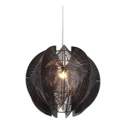 ZUO PURE - Centari Ceiling Lamp Black - Like a menacing piece of alien technology, the Centari ceiling lamp's exotic shape and lattice design will leave guests intrigued. The lamp is the perfect balance of acrylic and metal. It is UL approved. The lamps height is fully adjustable.