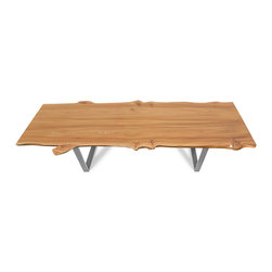 """Etz & Steel - """"Wave"""" Elm Live-Edge Table with Steel Base, Nickel Polish - What do you get when you take two beautiful slabs of perfectly bookmatched elm and joint them seamlessly? A Dream On Elm Street - our collection of elm dining tables with unbelievable color, incredible sweeping textures, and distinctive shapes."""