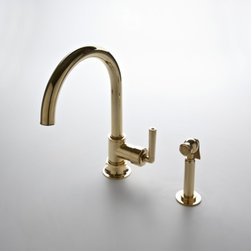 Henry Gooseneck Two Hole Kitchen Mixer with Lever Handles - Very simple goosneck design in a two hole faucet. Graceful and elegant could be used in a more contemporary kitchen as well as a more traditional design.