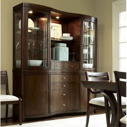 Interval Dining China Cabinet - Like a mid-century heirloom piece, the Interval Dining China Cabinet has storage and sleek style to spare. This china cabinet features a curved front, elliptical satin nickel knobs, and glass enclosed shelving. It's well-crafted of walnut veneers and select hardwood solids in a Classic Walnut finish. Above you'll find two doors, adjustable glass shelves, and two smaller drawers, and plenty of room for display. Below you can open the twin doors to find adjustable wood shelves and removable wine bottle storage. The four, curved-front drawers offer a padded silverware tray liner and plenty of room for essential. About Universal Furniture InternationalRecognized as a leader in exceptionally crafted home furnishings, including bedroom and dining room items, entertainment centers, and more, Universal strives to make items that are styled to endure but always remain fresh. They make it a goal to include features that fit the way their customers live today, and to find prices that put high-quality products within reach. These are the principles that guide the work at Universal, essential elements of good, affordable, and smart design.